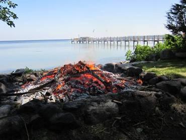 Fire by lake